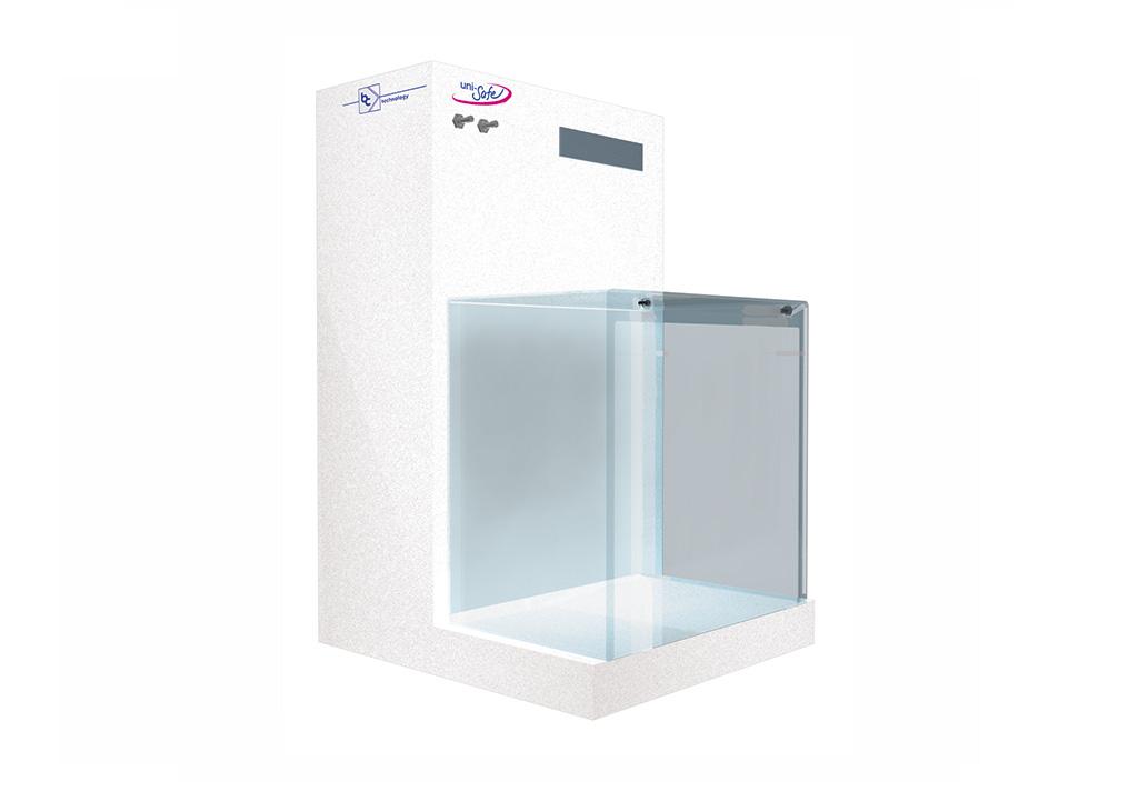 compact flowbox for particle sensitiv applications