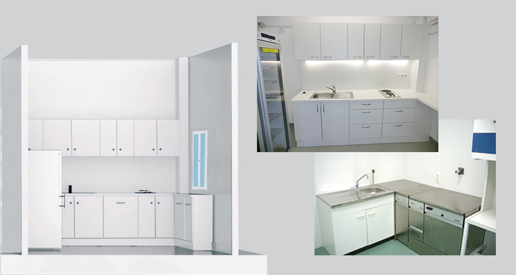 Laboratory kitchens, fully equipped